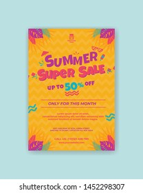summer super sale poster template. A2 size