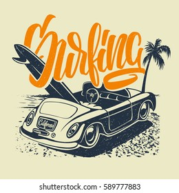 Summer Surf Print with car, Palm Trees and Lettering. Vector Illustration.
