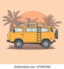 Summer Surf Van Vector Illustration