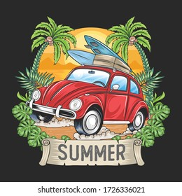SUMMER SURFER AND CAR WITH COCONUT TREE ARTWORK VECTOR