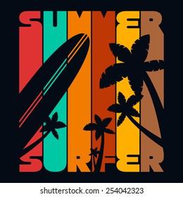 Summer Surfer T-shirt Typography Graphics, Vector Illustration