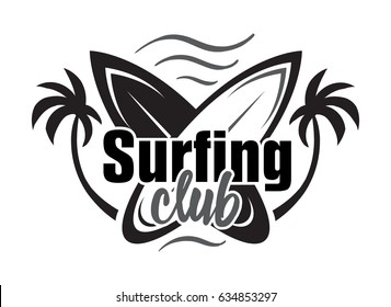 Summer surfing retro badge. Surfing concept for shirt or logo, print, stamp. Vector illustration.