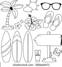 Summer surfing set. Vector black and white coloring page