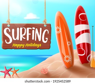 Summer surfing vector banner design. Surfing happy holidays text for fun outdoor sport activity with elements like surfboard in beach background for enjoy tropical season vacation. Vector illustration
