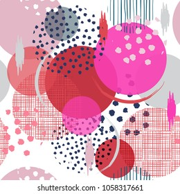 Summer sweet bright Seamless many pattern in big polka Dots. Fill in with hand drawn texture in sketch and paint style modern with another shape of dot for fashion fabric and all prints on white