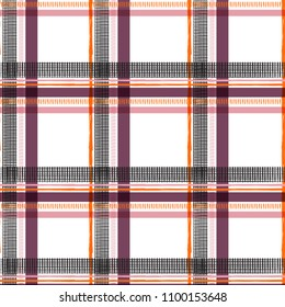 Summer sweet color window check tartan on white color background for fashion fabric and all prints seamless pattern vector in hand drawing style