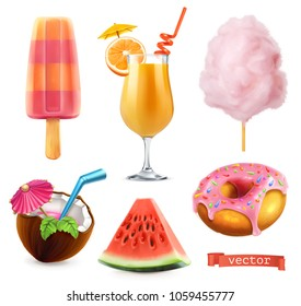 Summer, sweet food. Ice cream, orange juice, cotton candy, cocktail, watermelon, donut. 3d realistic vector icon set