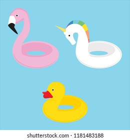 Summer swim swimming rings collection flamingo, unicorn, duck