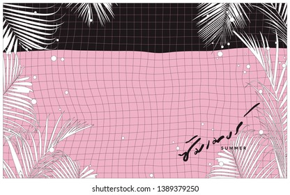 """Summer swimming pool surface and palm leaves, minimal mono black and white line art manga / anime style, lazy sunday nostalgic feeling - thai text is a pronunciation of """"summer"""" word"""