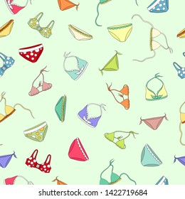 Summer swimming suits print. Bikini hand drawn seamless pattern. Female  swimwear, beach clothing underwear. Color summer texture. Many types swimsuit. Female  swimwear, beach clothing underwear.