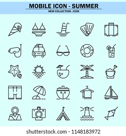 summer, swimwear, vacation, travel, bikinis, banana boat, tropical, vacation, mobile icon, line icon, illustration