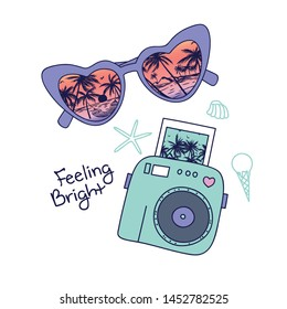 Summer symbol t-shirt design.Sunglasses and palm tree vector print.Camera drawing.Funny graphic design.Retro sunglasses, camera  illustration.