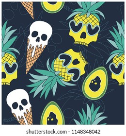 Summer symbols seamless pattern.skull,pineapple,ice cream,avocado  vector print.Fruit repeat pattern.