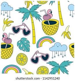 Summer symbols seamless pattern.Sunglasses, palm tree,leaf,banana,lemon,coconut,flamingo,rainbow,cloud vector print.Summer elements repeat pattern.