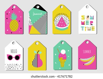 Summer tags set. Sticker in Retro design. 80s - 90s fashion. Labels with ice cream, sun glasses, pear, banana.  Hand drawn font. Lettering quote. Summer Scandinavian collection of Greeting Cards