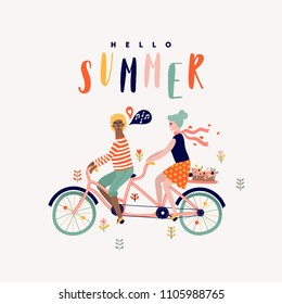Summer tandem bike with couple cartoon illustration