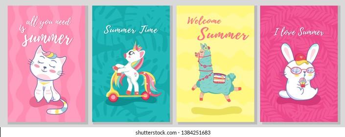 Summer template card set with cat, llama, unicorn, bunny and kitty rabbit