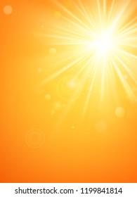 Summer template hot summer sun rays burst with lens flare. EPS 10