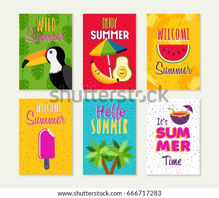 Summer Template Set Summertime Vacation Quotes Stock Vector Royalty