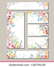Summer templates with contour flowers.Template for your design, greeting cards, festive announcements, posters.