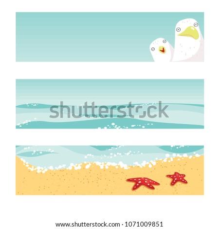 summer templates seagulls ocean waves sandy stock vector royalty