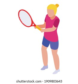 Summer tennis player girl icon. Isometric of summer tennis player girl vector icon for web design isolated on white background