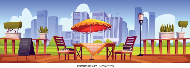 Summer terrace, outdoor city cafe, coffeehouse with wooden table, chairs and umbrella, plants and chalkboard menu on cityscape view. Street drinks and snacks cafeteria, Cartoon vector illustration