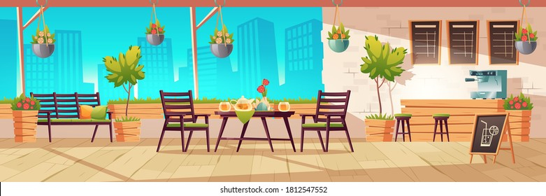 Summer terrace, outdoor city cafe, coffeehouse with wooden table, chairs and potted plants, chalkboard menu on cityscape view background. Street drinks or snacks cafeteria, Cartoon vector illustration