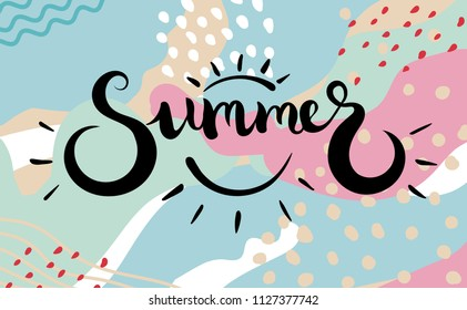 Summer text. Brush calligraphy. Vector isolated illustration