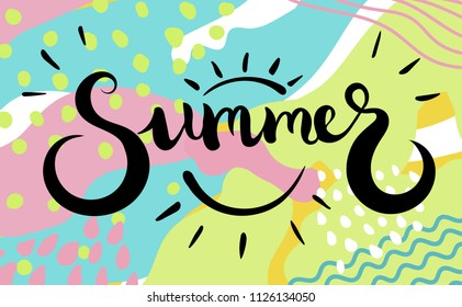 Summer text. Brush calligraphy.Vector isolated illustration