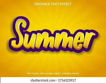 summer text effect template with cartoon style use for logo and brand title or headline