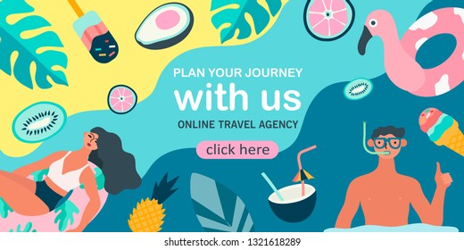 Summer theme banner. Vector illustration of resting people and objects and fruits issociated with summer holidays and vacation by the sea. Creative banner, landing page, flyer in a flat style.