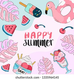 Summer theme banner. Vector illustration of different objects, food and floral elemnts associated with summer.