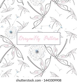 Summer Theme based dragonfly with dandilion print