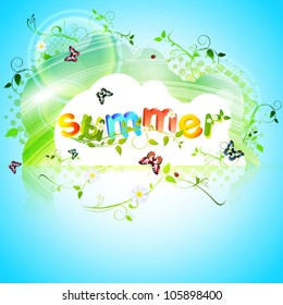 Summer theme with Butterflies over floral abstract background