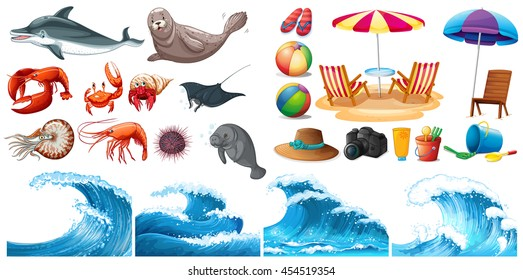 Summer theme set with waves and sea animals illustration