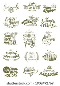 summer themed hand lettering typography design