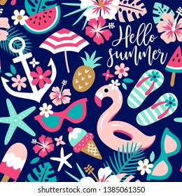 Summer themed seamless vector pattern with tropical flowers and beach accessoires. Perfect for fabric, wallpaper or wrapping paper.