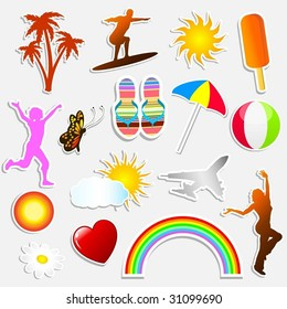 Summer themed stickers