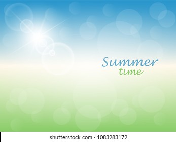 Summer time. Abstract sunny background with blue sky and green meadow. Vector illustration