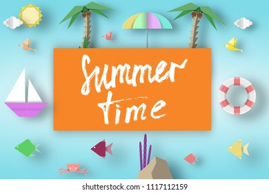 Summer Time Art Paper Origami Abstract Concept, Applique Scene with Slogan and Cutout Elements. Creative Cut Template for Season Unusual Card, Poster, Banner. Vector Illustration Art Design.