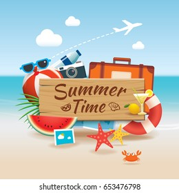 Summer time background banner design template and wooden sign season elements beach