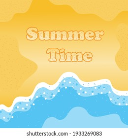 Summer Time Background with Copy Space. Top View of Sea Beach with waves and gold sand. Summer time inscription on the beach sand. Flat Vector Illustration