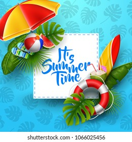 It's summer time banner design with white square for text and beach elements on blue background