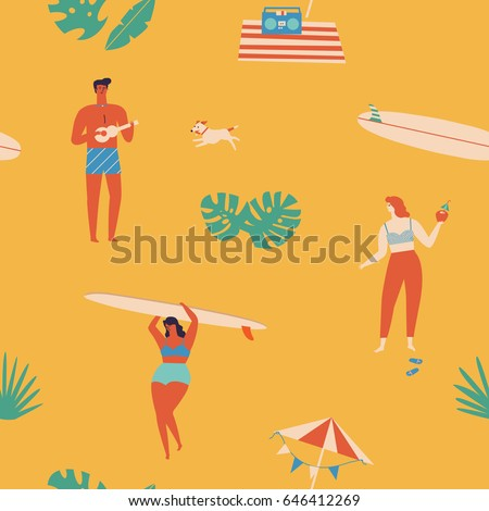 Summer time beach fun seamless pattern in vector. Surf illustration in retro mid century style