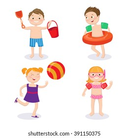 Summer Time. Beach Vacation. Happy Kids. Children in the Pool. Boy and Girl in Swimsuit. Family Lifestyle. Vector illustration. Flat style