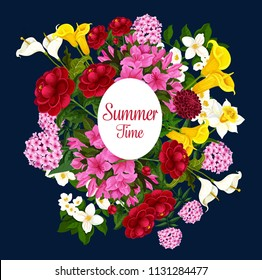 Summer time best wishes poster of tulips and snowdrops bunch for springtime greeting card and season holiday. Vector design of daisy daffodils, narcissus or violets and hibiscus flowers bouquet