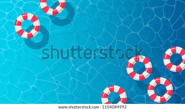 summer time blue water pool background, life sever floating rings, vector illustration
