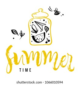 Summer time. Calligraphy greeting card. Watermelon, butterfly, bee, leaf, cherry, paper airplane in jar. Hand drawn design elements. Handwritten modern brush lettering. Vector illustration.