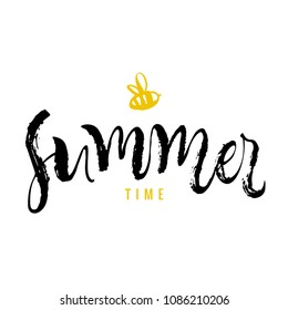 Summer time. Calligraphy greeting card with yellow bee. Hand drawn design elements. Handwritten modern brush lettering. Vector illustration.